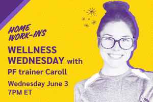 Image showing the copy Wednesday 7PM ET - Wellness Wednesday with trainer Caroll