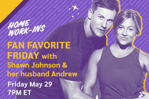 Image showing the copy Fan Fave Friday with the Shawn Johnson East and Andrew East at 7PM ET