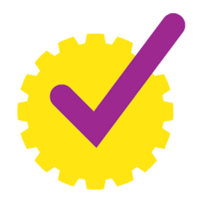 purple check mark on yellow gear