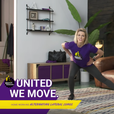 at home workout - United We Move home work-ins. woman performing lateral lunge